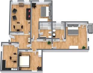 Moderno appartamento vacanze a venezia per 6 persone for Appartamenti con planimetrie